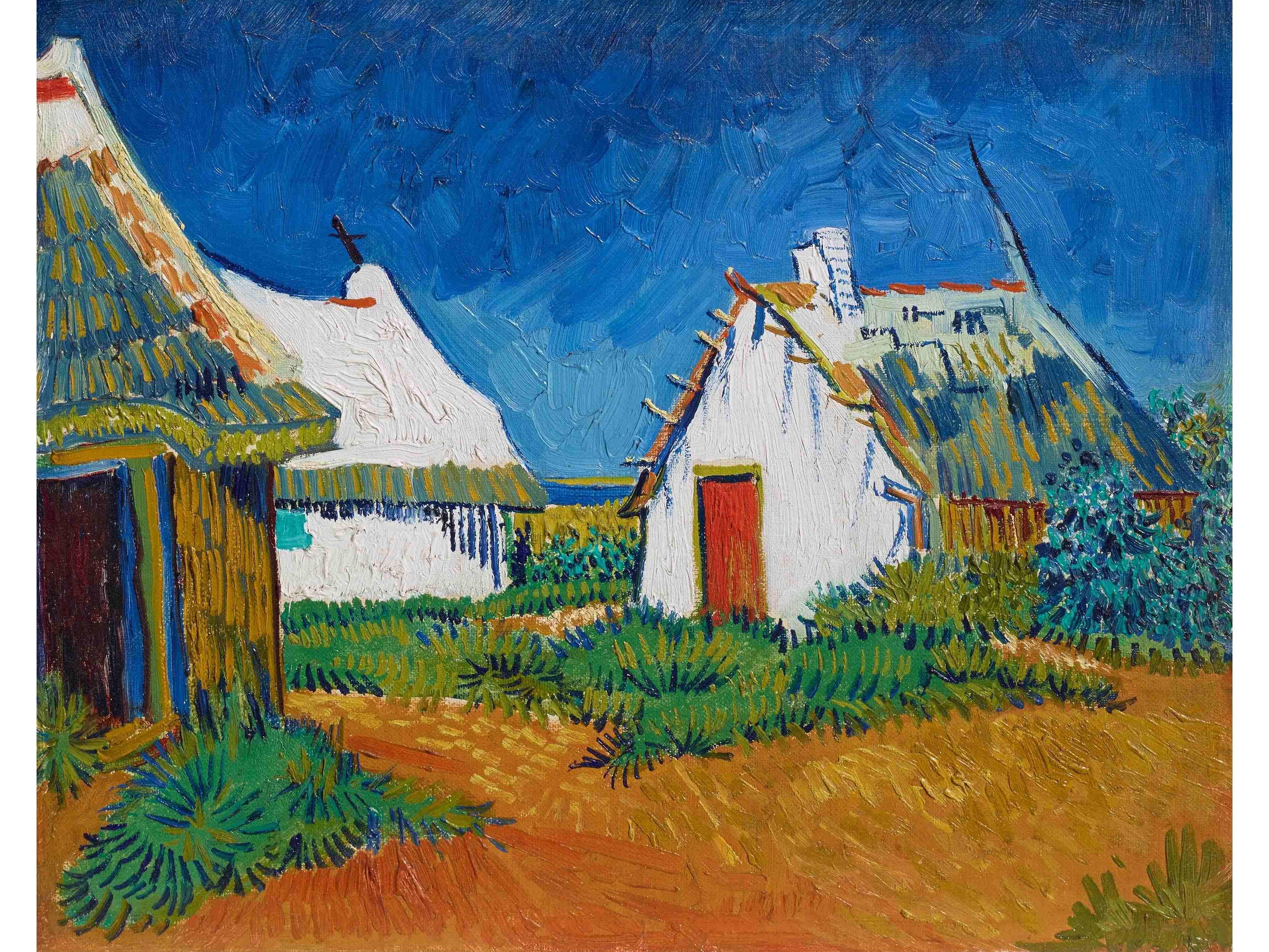 """Вино, забавление и рисуване с акрил """"Три бели къщи в Сен Мари"""" Винсент ван Гог 10.11.2021 г."""