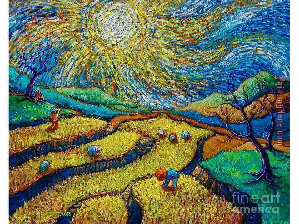 """Вино, забавление и рисуване с акрил """"Жътва"""" Винсент ван Гог 24.11.2021 г."""